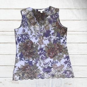 Coldwater Creek Floral Print Lace Tank Style Top